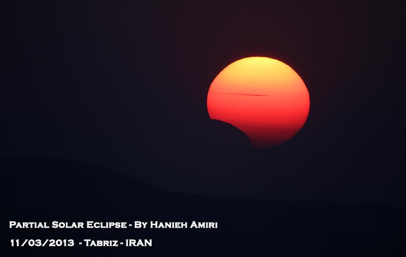 in پديده های نجومی عکاس : هانیه امیری Solar Eclipse alongside plane transition